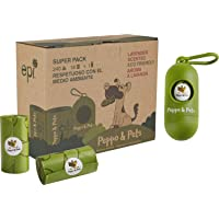 Peppo and Pets- 240 Bolsas Caca Perro (16 Rollos) + (1 dispensador) - Biodegradables- Muy Resistentes- Olor a Lavanda…