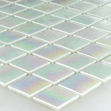 Glasmosaik Fliesen Perlmutt Effekt Blau Uni