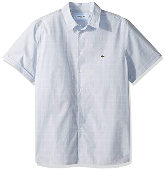 3f99ba45a2 Lacoste Men's Short Sleeve Checked Casual Slim Fit Woven Shirt ...