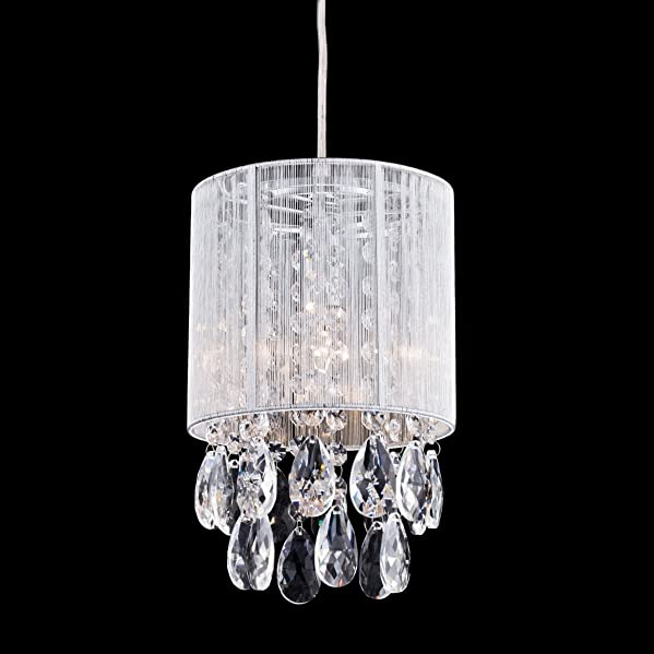 Dazhuan Modern Crystal Drops Pendant Ceiling Light Silver Wire Drawing Chandelier Hanging Lamp Lighting
