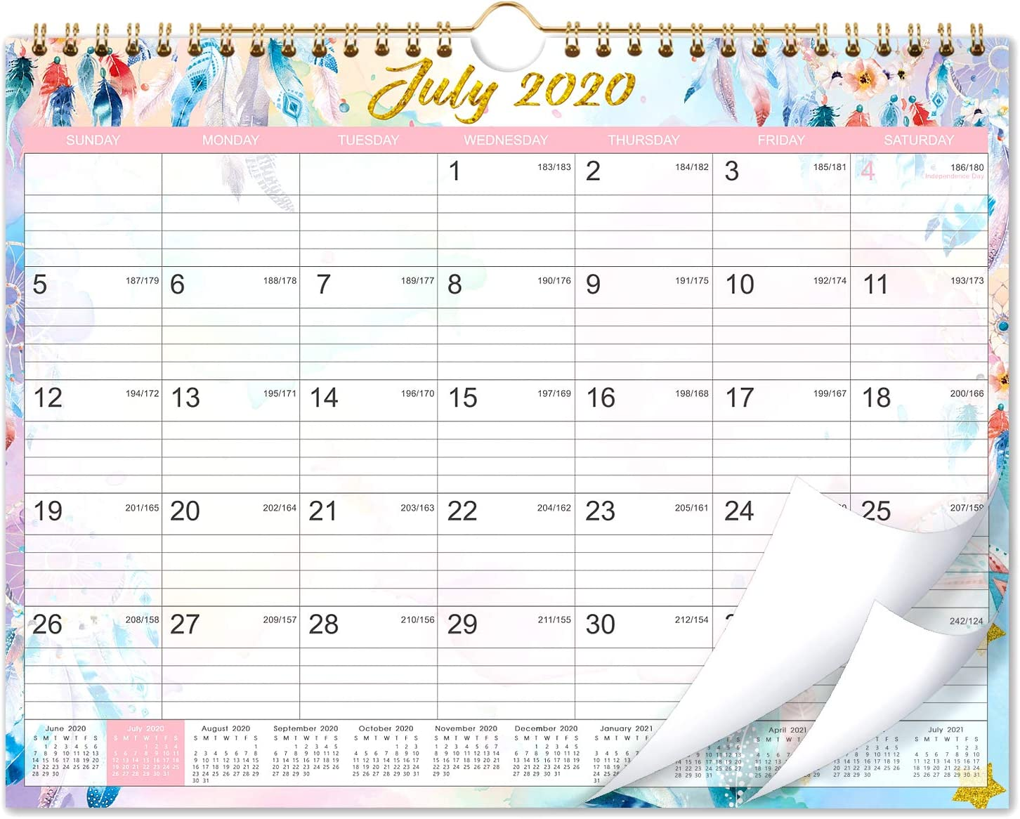 """Calendar 2020-2021 - 18 Months Wall Calendar 2020-2021 with Julian Date, 11""""x 8.5"""", Jul 2020-Dec 2021, Wire-Bound, Colorful Monthly Calendar, Perfect for School, Office & Home Planning & Organizing"""