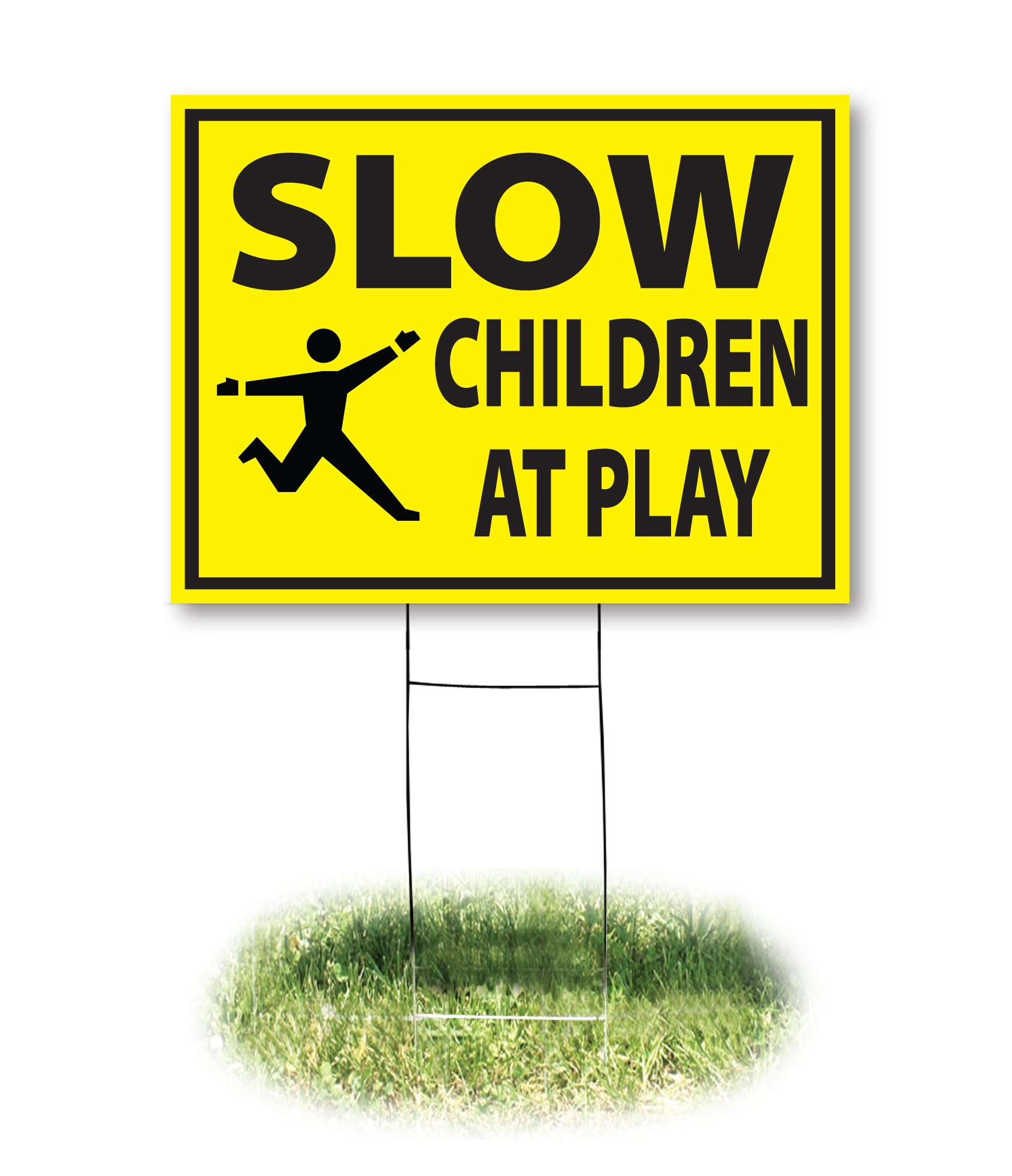Headline Sign - Yard Sign,''SLOW, CHILDREN AT PLAY'', 18 x 24 Inches (4731)