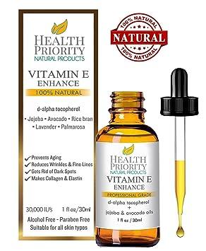 Aceite 100% natural y orgánico de vitamina E para la cara y la piel -