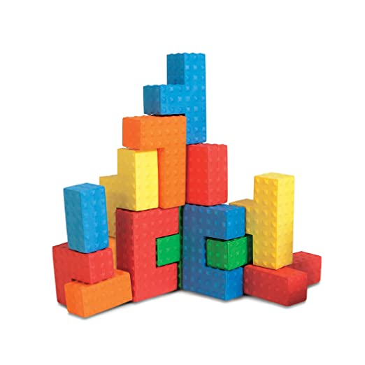 Edushape Easy Grip Soft Foam Sensory Puzzle Blocks, 18 Piece
