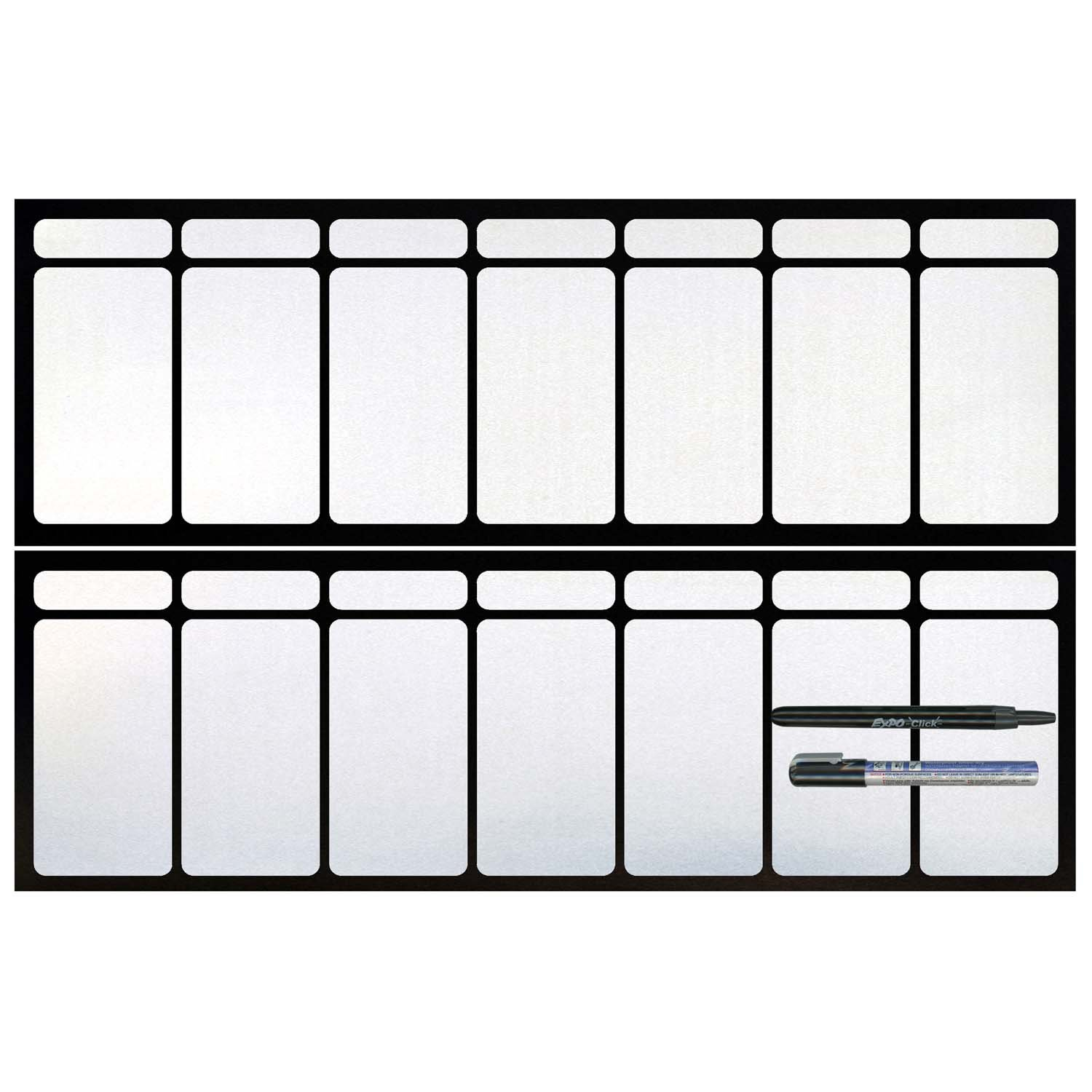 Cohas Magnetic Backed Large 7 Day Calendar includes Black Markers, Whiteboard, 2 Weeks
