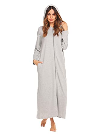 ee98407670 Declare Women Long Robe Long Sleeve Zip-Front Bathrobe with Pockets  Sleepwear Dress(Grey
