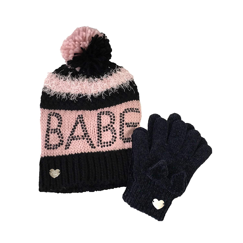 Betsey Johnson Womens Babe Beanie Hat /& Chenille Bow Glove Set