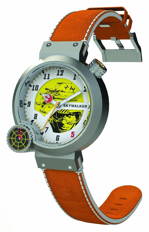 Star Wars STAR138 - Reloj analógico de cuarzo para hombre con correa de piel, color naranja