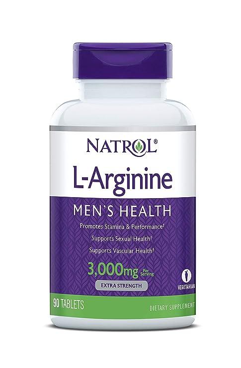 Natrol - L-Arginina 3000 mg Promueve El Rendimiento Físico y La Estamina 90 Comprimidos