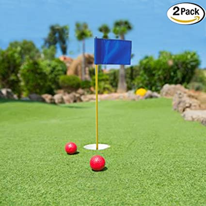Gentil Kofull Backyard Practice Golf Putting Green Flags Nylon Portable Flagstick  With Cup For Yard