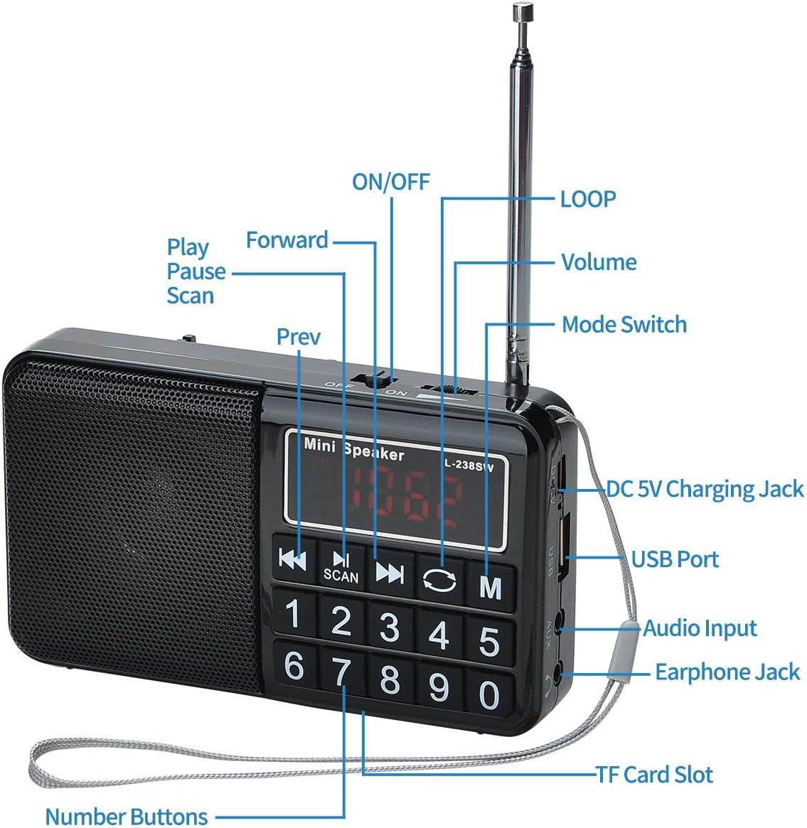 COVVY Radio SW/FM/Am portátil Conecte la Unidad Flash USB/Tarjeta TF/AUX para Reproducir MP3, Altavoz Incorporado, escaneo automático y almacenar el ...