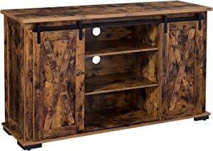 VASAGLE Stand with Storage and Sliding Barn Doors for 60-Inch TVs, Entertainment Center Console, 53.9 x 15.8 x 31.9, Rustic Brown