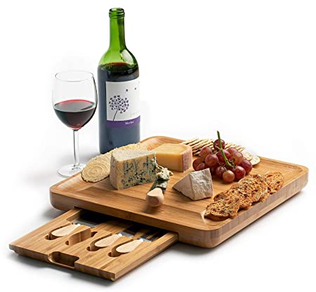 Tabla de queso de bambú con juego de cuchillos de cubiertos ...