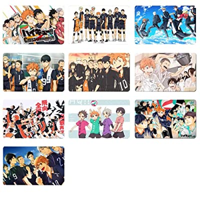 St.Mandyu Anime Haikyuu!! Cards Stickers Crystal Cards Stickers, Waterproof Anime Cartoon Photo Card Bus Card ID Card Sticker 10pcs/Set(H01): Home & Kitchen