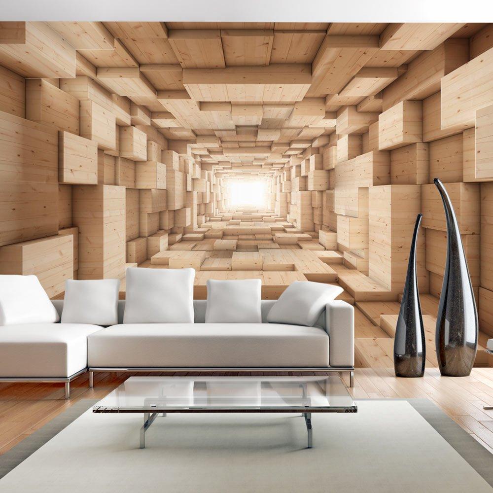 murando - Fototapete 3D Effekt 350x256 cm - Vlies Tapete - Moderne Wanddeko  - Design Tapete - Wandtapete - Wand Dekoration - Tunnel Holz Beige ...