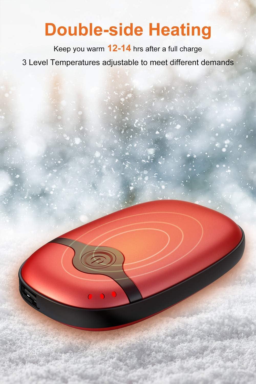 10000mAh Calentador de Bolsillo Reusable USB Acampar Caminar Patinaje Power Bank Port/átil El/éctrico Calentadores para Esquiar Regalo de Invierno y m/ás Hiluckey Calentador de Manos Recargable