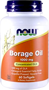 NOW Borage Oil 1000mg, 60 Softgels (Pack of 2)