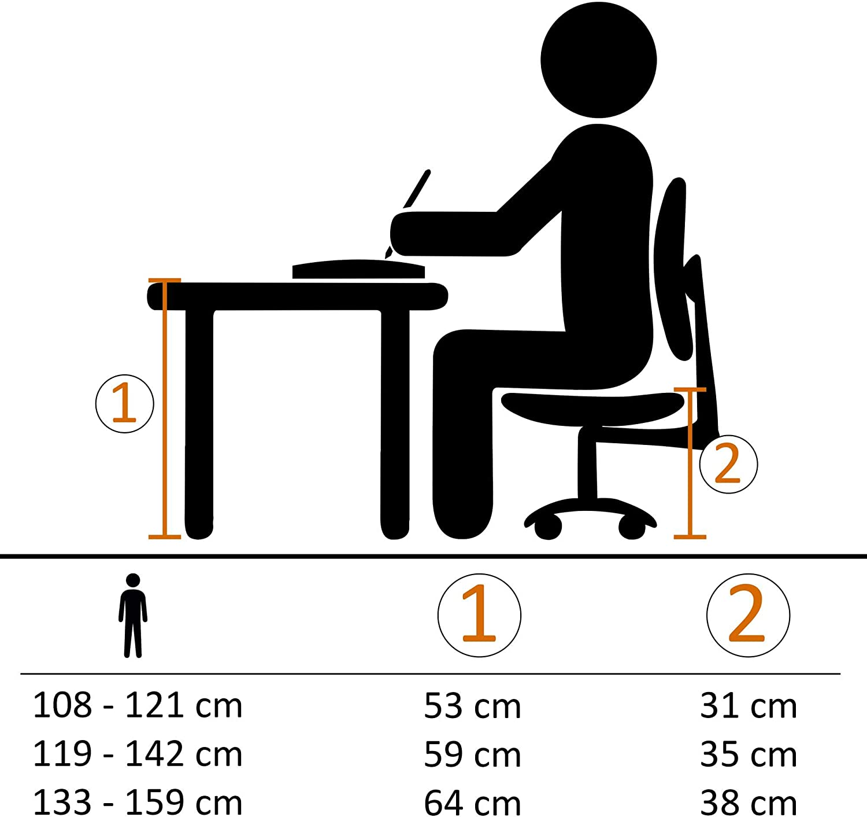 KADIMA DESIGN Moderner Design Kinderschreibtischstuhl YDEEPS Blau//Grau f/ür Kinder ab 8 mit Lehne und Hartbodenrollen