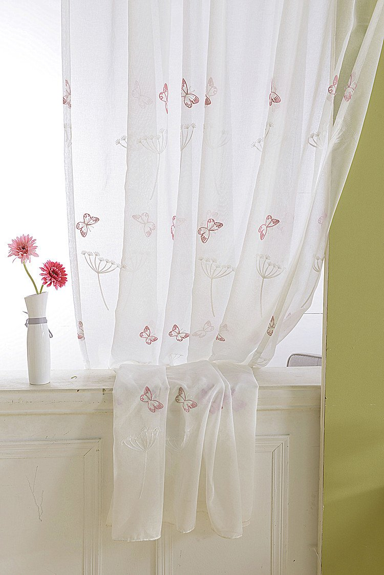 AliFish Emberidered Floral Rod Pocket Sheer Window Curtians Pastoral Dandelion and Butterfly Embroidery Window Treatment/Gauze/Voile/Tulle/Drapes for Sliding Glass Door 1 Panel W52 x L84 inch