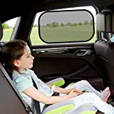ALAVIT Premium Car Window Shade, 4 Pack Cling Sunshades to Fit All The Vehicles, Upgrade 80GSM Baby Side Window Car Sun Shades Protector - for Your Children and Pets from UV Rays and Sunlight