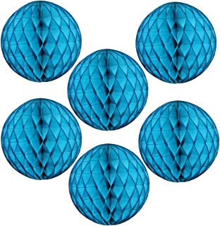 product image for 6-pack 5 Inch Turquoise Blue Honeycomb Tissue Paper Balls