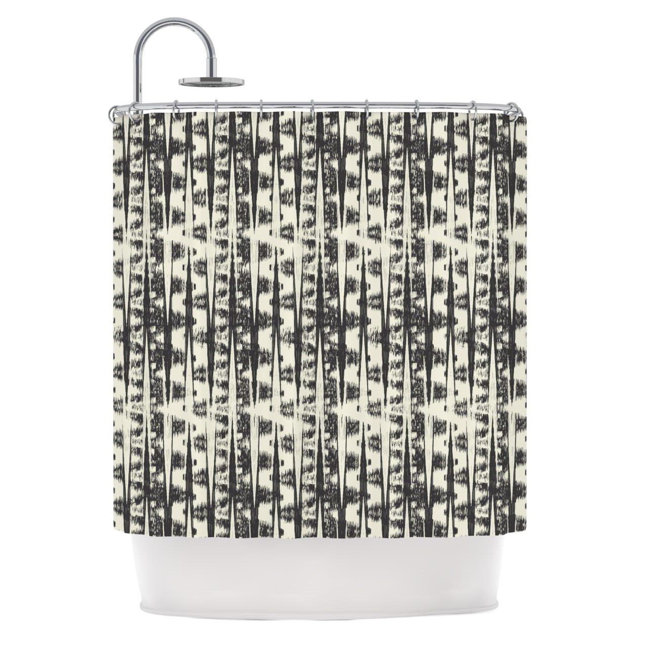 Geometric Stripes Chevron Pattern, Elegant Top Shower Curtain, Printed Exotic Zigzag Classic Striped Herringbone Motif, Premium Modern Home Adults Kids Bathroom Decoration, Grey, Cream, Size 69 x 70