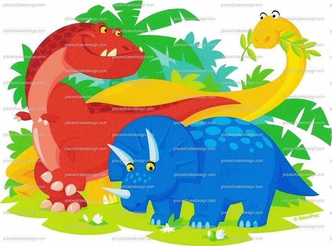 Dibujos animados dinosaurios Cumpleaños ~ Comestible imagen ...