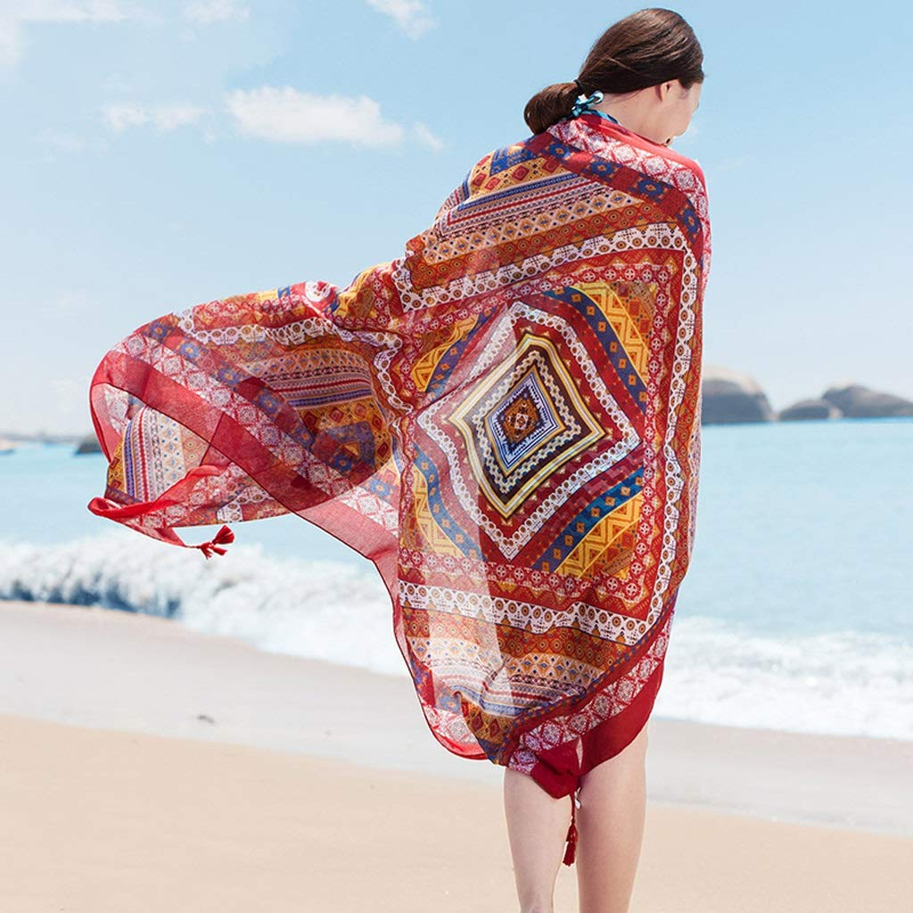 Ethnic Style Cotton and Linen Scarves Ladies Oversized Travel Shawl Long Retro Tassel Pendant Beach Towel Sunscreen Warm Multi-Design (Edition : J)