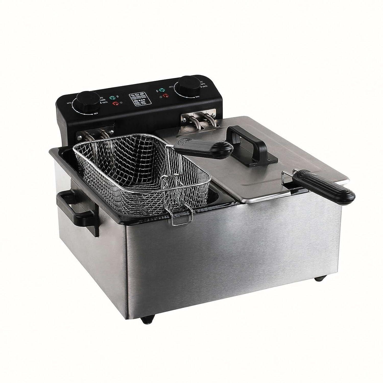 Acero inoxidable doble freidora 3300 W frito 2 cestos 1,6 kg patatas (grandes freidora, 2 x 3 litros, esmalte de depósito, protección contra salpicaduras, ...
