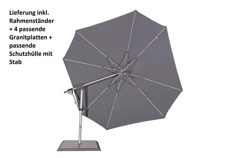 Luxus XXL Doppler Ampelschirm mit Elektroantrieb Solmotion 400 cm E-Drive, inkl. Rahmenständer, 4 passenden Granitplatten und Schutzhülle mit Stab, Solarpanel, UV-Schutz 80