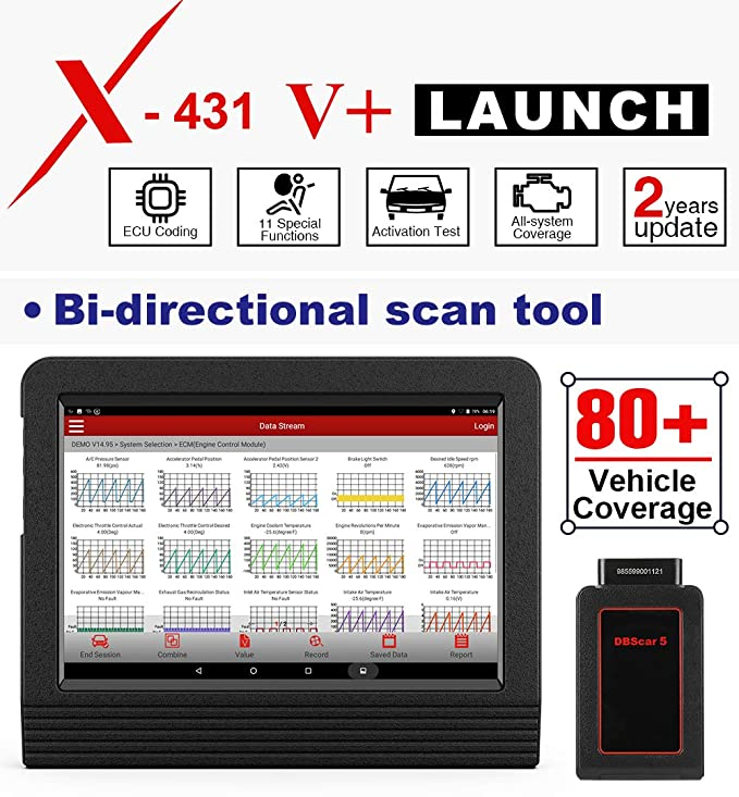 LAUNCH X431 V+ (Upgraded Version of X431 V Pro) Bi-Directional Bluetooth  OBD2 Scanner Full Systems Diagnostic Scan Tool, ECU Coding, Key Coding,  TPMS