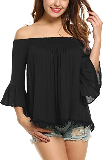 ANGVNS Womens Summer Off Shoulder Bell Sleeve Ruched Casual Party Blouse Top