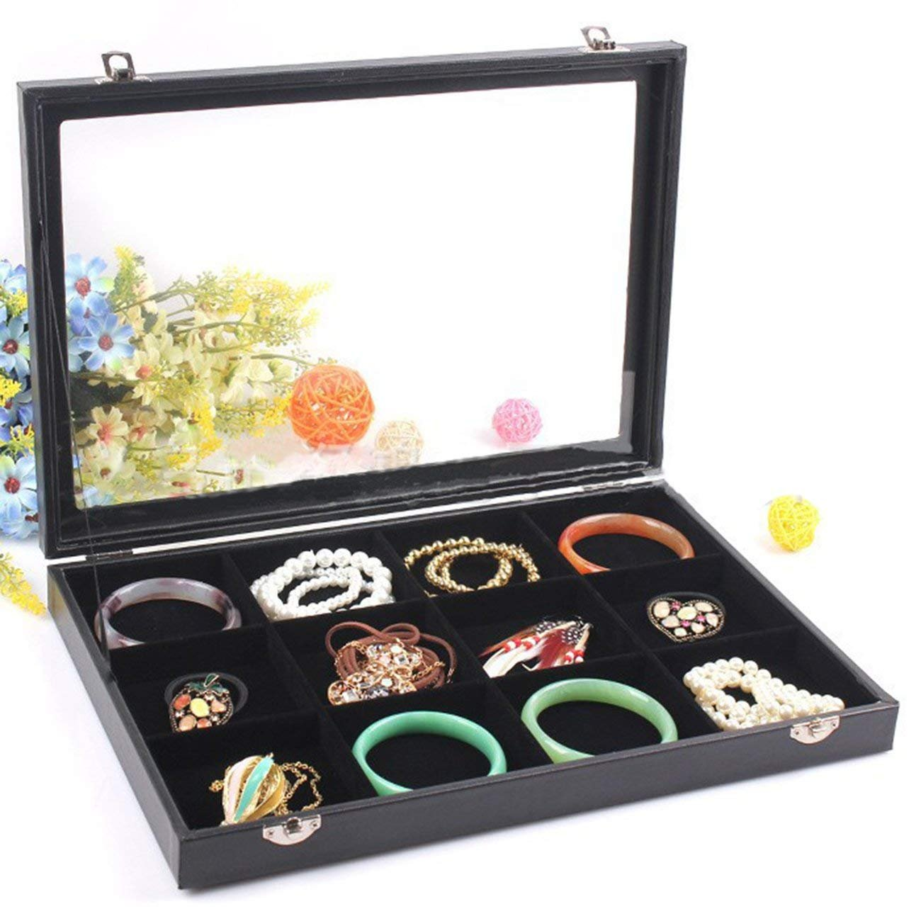 RJ Displays- Black Velvet Decorative 12 Grid Slot Jewelry Display Box Tray Clear Glass Top/Dresser Top Pendant Ring Earrings Bracelets Coins Cuff-link Jewelry Gemstones Organizer (12)
