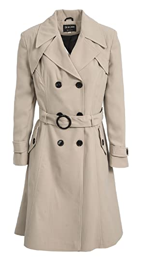 "Womens New Double Breasted Coat Fit and Flare Ladies Mac Trench  42/"" inch lenght"