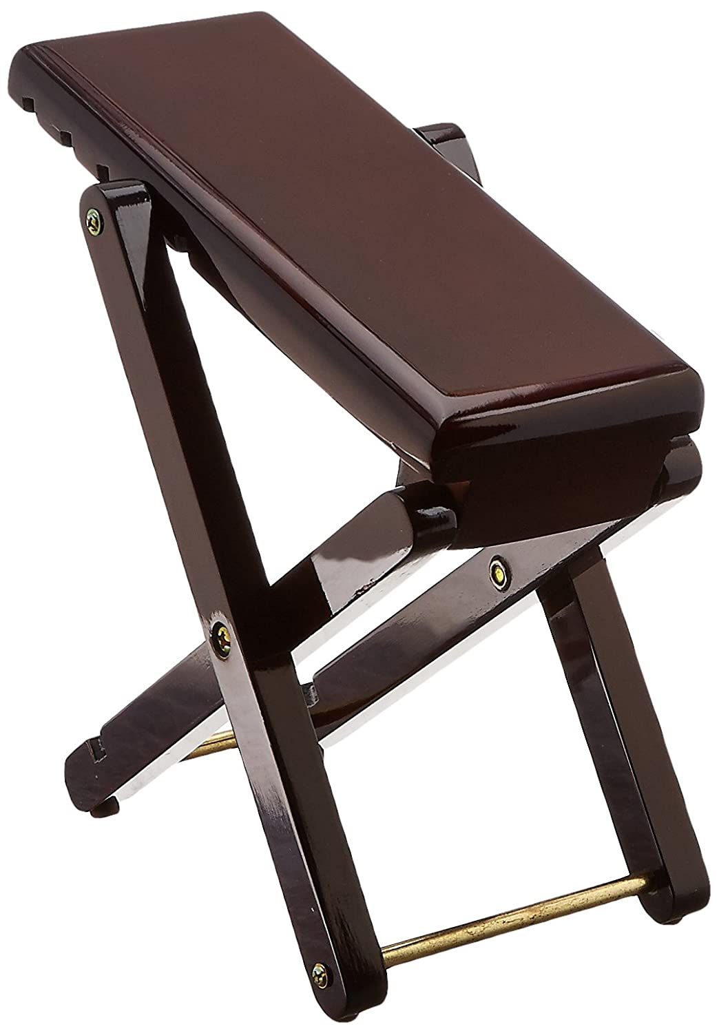 Performance Plus FSW Guitar Foot Stool for Classical Guitar Varnished Mahogany Wood & Brass