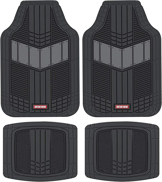 Amazon.com: Motor Trend DualFlex All-Weather Rubber Floor Mats for Car, Truck, Van & SUV – Waterproof Front & Rear Liners with Drainage Channels & Two-Tone Sport Design
