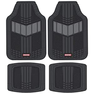 Motor Trend MTX101 Gray DualFlex Two-Tone Rubber Car Floor Mats for Automotive SUV Van Truck Liners - Channel Drainer All Weather Protection