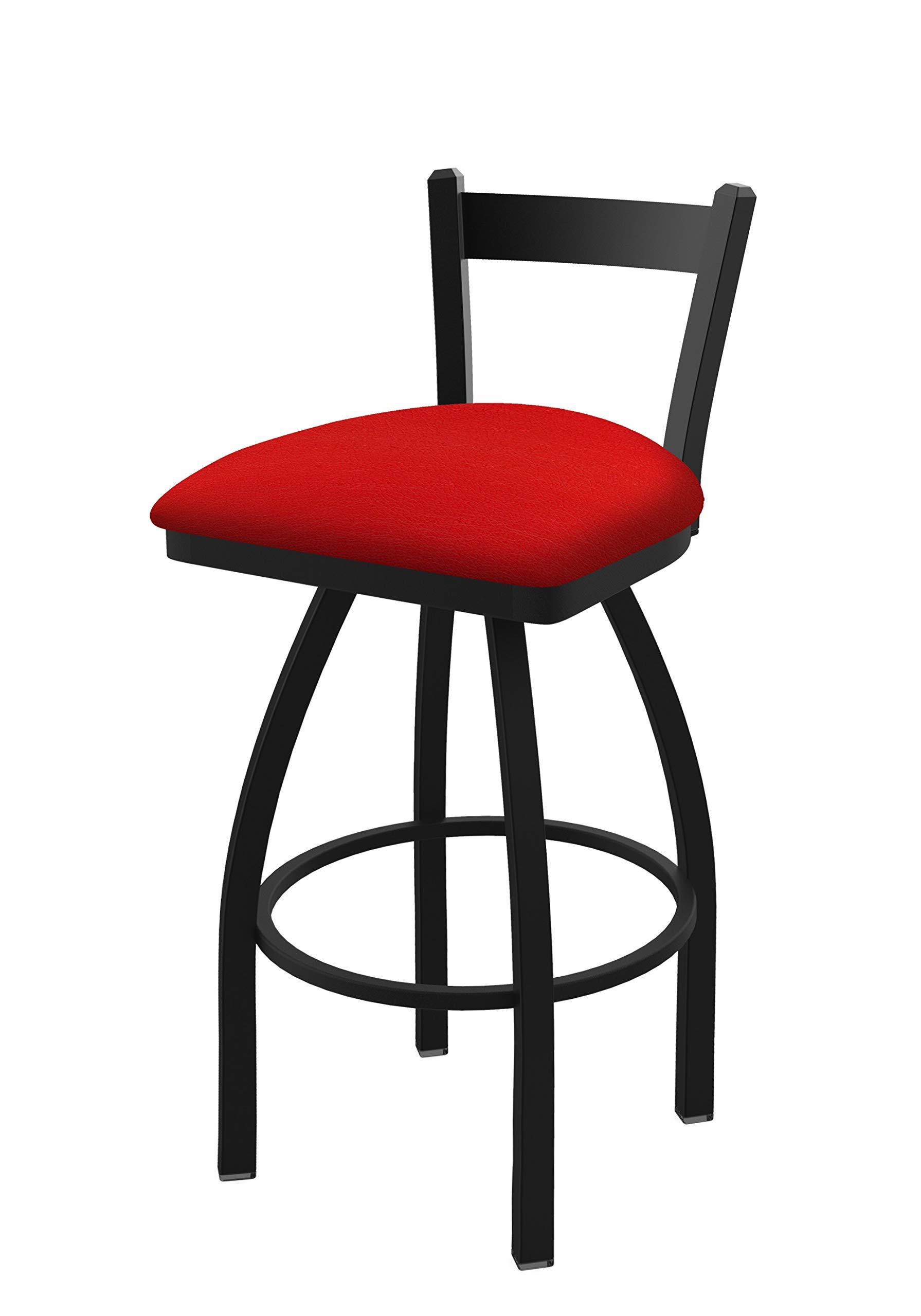 Holland Bar Stool Co. 82125BW011 821 Catalina 25'' Low Back Swivel Counter Black Wrinkle Finish and Canter Red Seat Bar Stool,