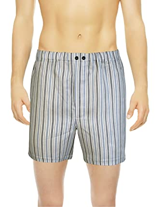 Armani International Vincenzo Boxer Shorts Linen Cotton Sateen Medium  Blue-Off White Stripes 651235794438