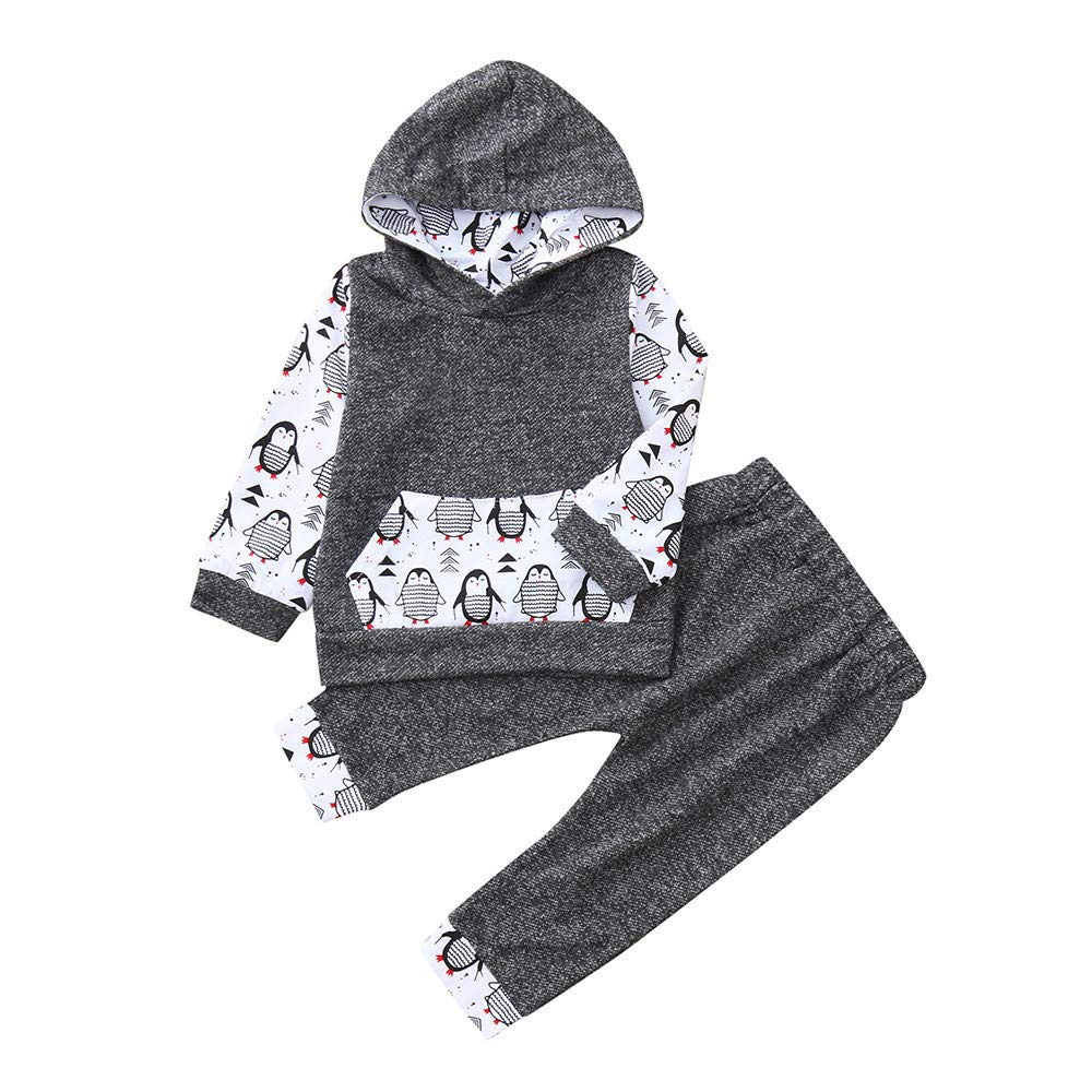 LIKESIDE Baby Girls Boy Cartoon Penguin Hooded Tops Sweatshirt Pants Outfits Set