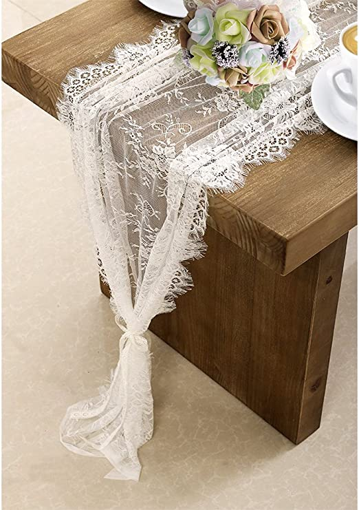 White Lace Table Runner Boho Wedding Reception Tablecloth Cover Chair Sash Decor