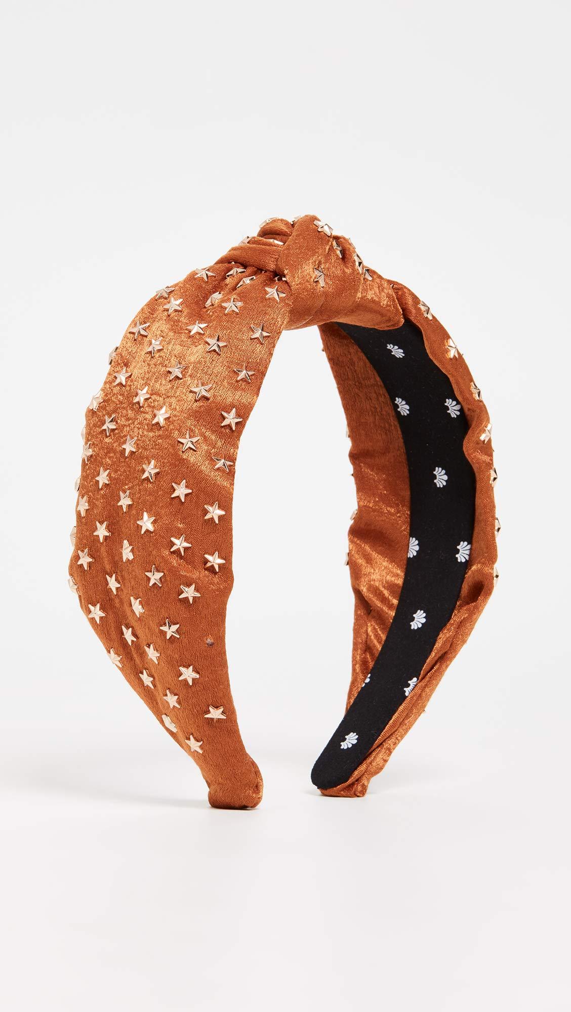 Lele Sadoughi Women's Star Studded Silk Knotted Headband, Copper, Metallic, Bronze, Orange, One Size by Lele Sadoughi (Image #2)