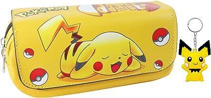 T-MIX Pokemon Pikachu Estuche de lápices Anime Gran Capacidad Doble Cremallera Lápiz Bolsa Cartera Bolsa de papelería (Colour2): Amazon.es: Juguetes y juegos