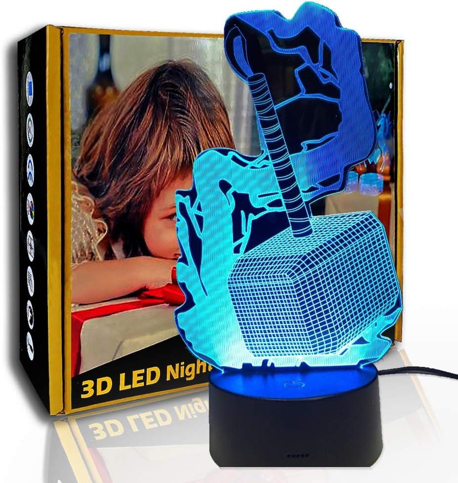 JINYI 3D Luz nocturna Hero Hammer, lámpara de ilusión LED, lámpara de mesita de noche para niños, B- Base negra remota (7 colores), Lámpara de noche, Lámpara Novedad