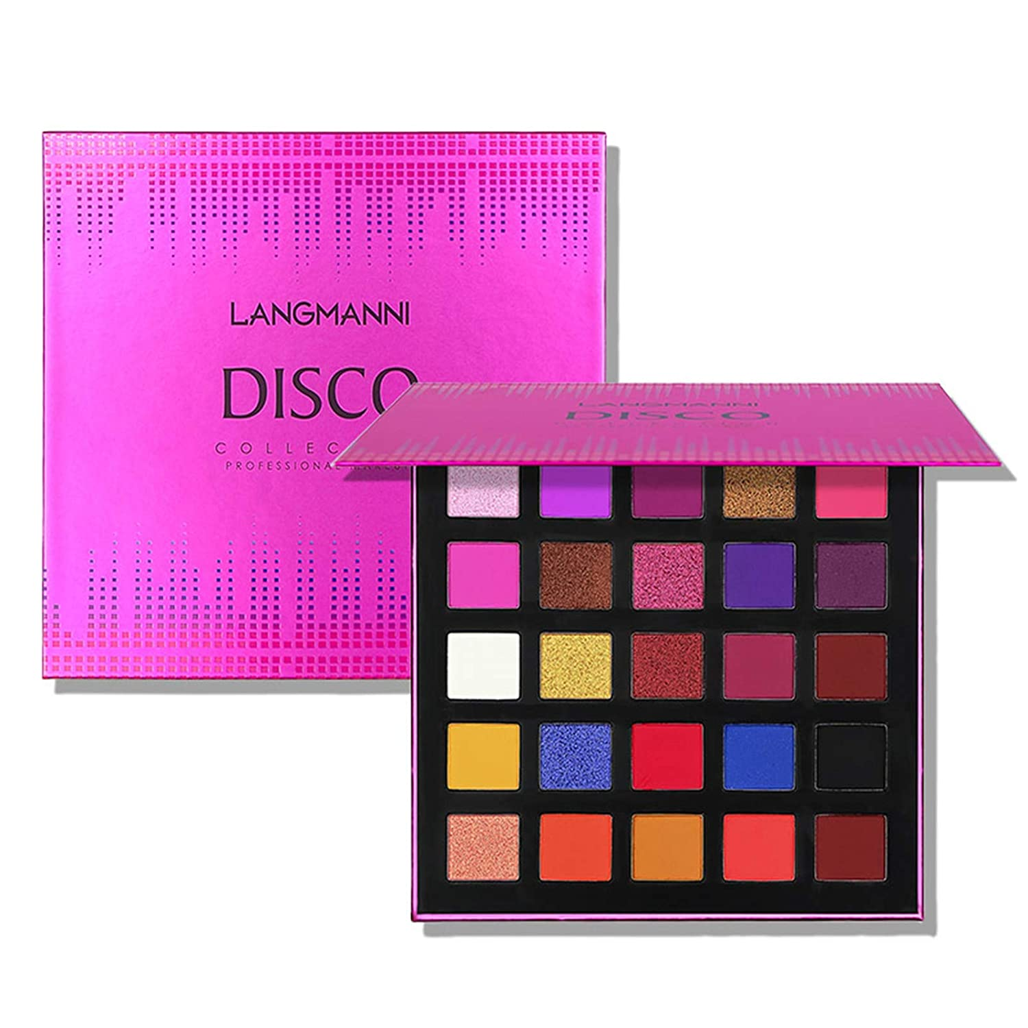 25 Colors Eyeshadow Palette, Shimmer Glitter and Matte Eyeshadow Highly Pigmented Waterproof Long Lasting Eye Shadow Vibrant Colorful Eye Cosmetic Make Palette (DISCO)