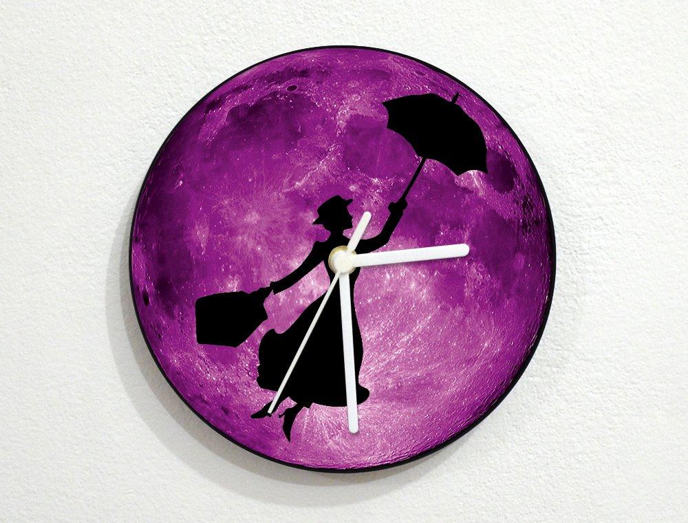 Mary Poppins - Purple Full Moon - Magic Witch Nanny - Universe Stars Space Galaxy Solar Planet - Custom Name Wall Clock