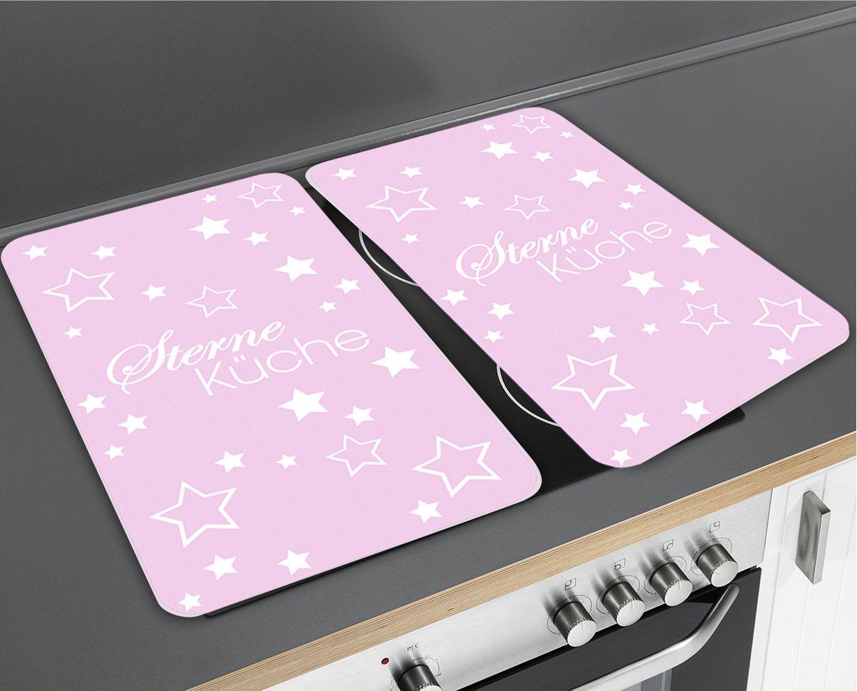 Geh/ärtetes Glas 2-er Set 52 x 30 x 4,5 cm Wenko 2521477500 Herdabdeckplatte Universal Sternek/üche f/ür Alle Herdarten rosa