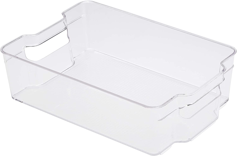 AmazonBasics Plastic Fridge Storage Bin - Large (2-Pack)