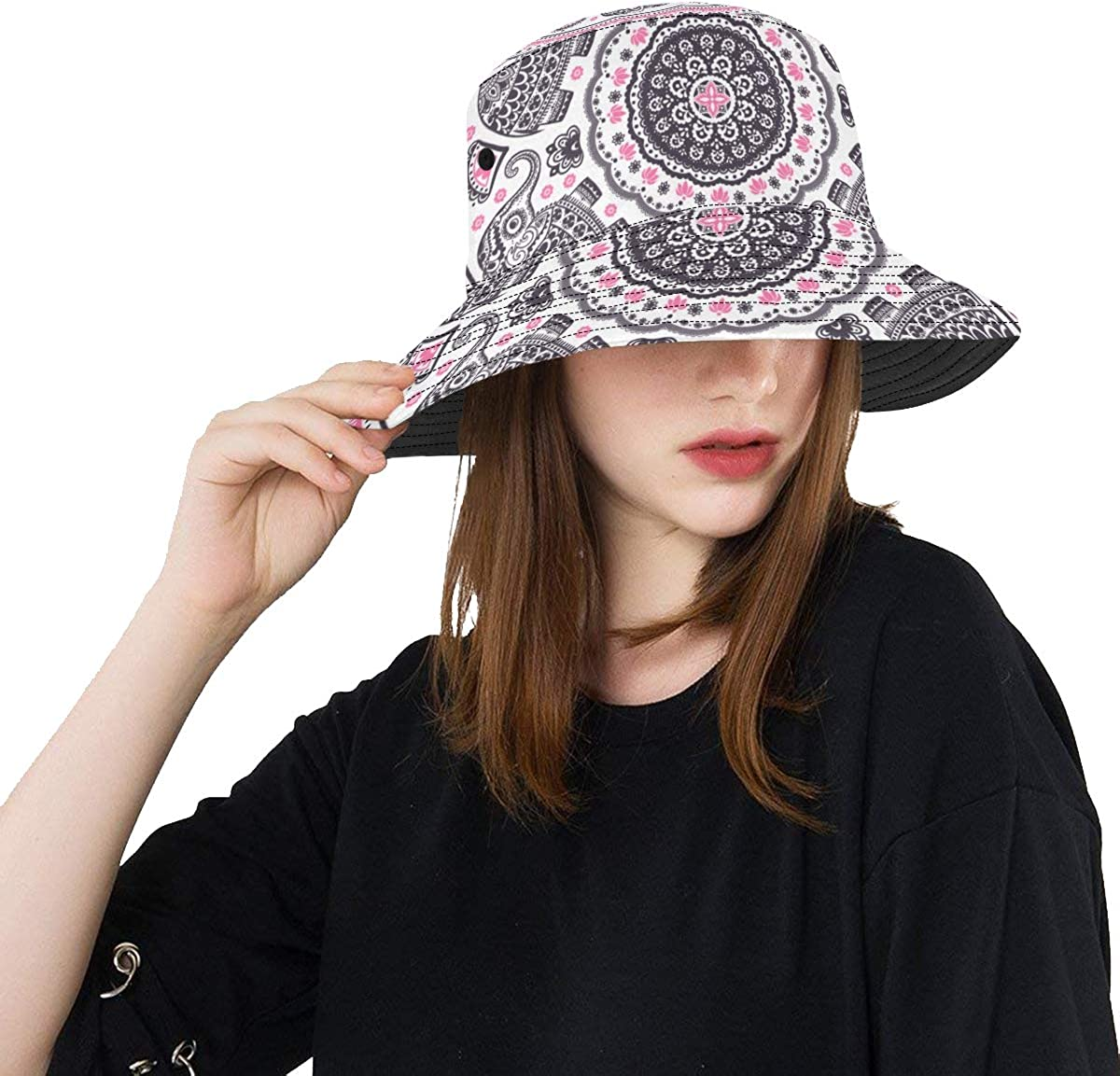 Indian Tribal Hand Drawn Symbol New Summer Unisex Cotton Fashion Fishing Sun Bucket Hats for Kid Teens Women and Men with Customize Top Packable Fisherman Cap for Outdoor Travel