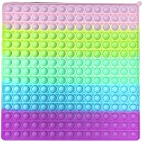 Big Size Push Pop Fidget Toy, Large Plus Size Rainbow Stress Relieving Popping Squeeze Fidget Toy Game for Kids Adult…